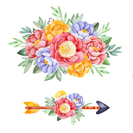 2 Lovely bouquets with peony, rose, leaves, flowers, branches and arrow.Watercolor bouquets for your design.Perfect for wedding, invitations, blogs, template card, birthday, baby cards, greeting,  etc.
