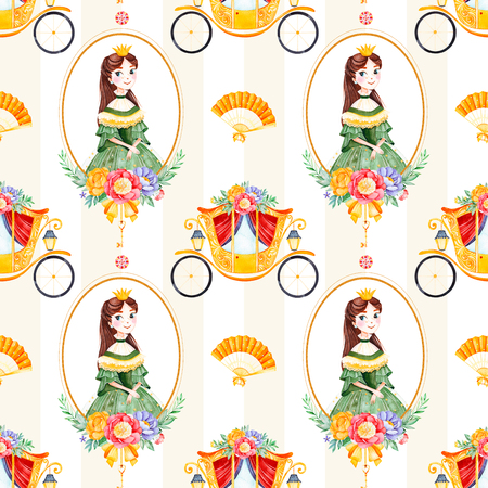 Romantic seamless fairy tale texture with bouquets, carriage, flower, princess, hand fan, gemstone.Lovely blush yellow stripe background.Perfect for wedding, Birthday, print, wallpaper, cover design, packaging 版權商用圖片