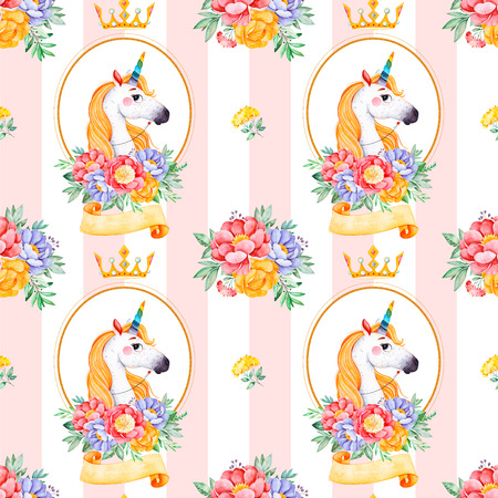 Romantic seamless fairy tale texture with bunches, flowers, ribbon, princess crown, cute unicorn.Lovely blush pink stripe background.Perfect for wedding, Birthday, print, wallpaper, cover design, packaging Banco de Imagens