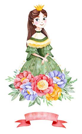 Beau bouquet avec pivoines, feuilles, fleurs, branches, ruban et jolie princesse.Illustration aquarelle pour votre conception.Parfait pour mariage, invitations, blog, carte de modèle, anniversaire, baby shower, logos, etc.