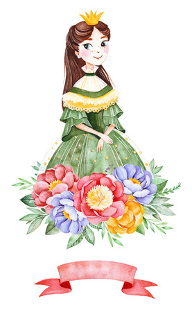Lovely bouquet with peonies, leaves, flower, branches, ribbon and pretty princess.Watercolor illustration for your design.Perfect for wedding, invitations, blog, template card, birthday, baby shower, logos etc.
