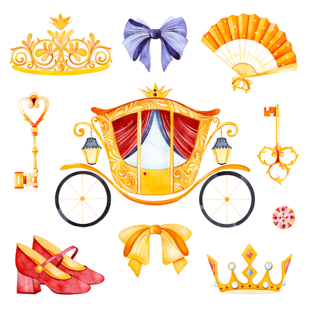 Romantic set with princess carriage, crown, golden keys, colorful bows, hand fan, shoes, gemstone.Perfect for wedding, invitations, blogs, template card, birthday, baby shower, logos, bridal shower etc