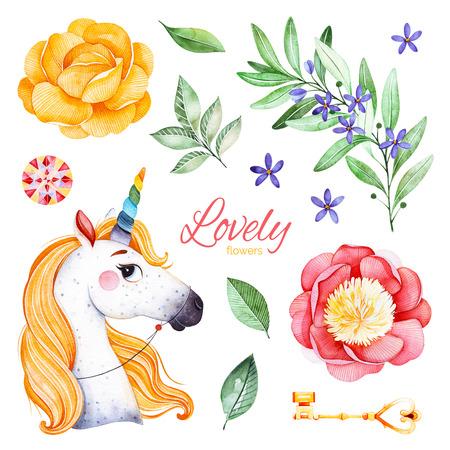 Conte de fées romantique serti de pivoines, fleurs, branche fleurie, pierre précieuse, licorne mignonne, clé dorée et feuilles.13 beau clipart isolé.Parfait pour mariage, anniversaire, bouquet, invitations, baby shower