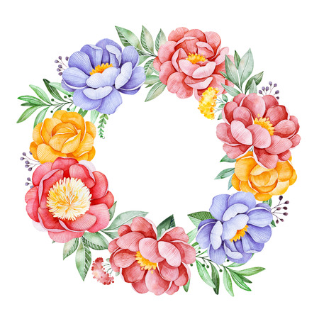 Lovely wreath with peony, pink, leaves, flowers, branches and berries.Watercolor bouquet for your design.Perfect for wedding, invitations, blogs, template card, birthday, baby cards, greeting, logos, bridal etc.