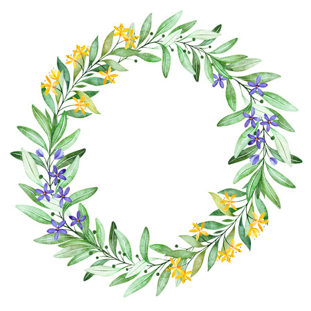 Watercolor green wreath. Feathers, leaves, foliage, fern.Laurel wreath.Perfect for wedding, quotes, Birthday and invitation cards, greeting cards, bridal cards, logos and more Stock fotó
