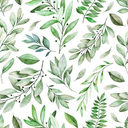 Acuarela hojas rama de patrones sin fisuras sobre fondo blanco. Textura con verdes, ramas, hojas, follaje. Perfecto para bodas, diseño de portadas, fondos de pantalla, patrones, empaques, impresión, etc.