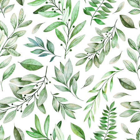 Watercolor leaves branch seamless pattern on white background. Texture with greens, branch, leaves, foliage.Perfect for wedding, cover design, wallpapers, patterns, packaging, print etc 스톡 콘텐츠