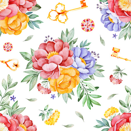 Handpainted watercolor seamless pattern with peonies, flowers, leaves, branch, golden keys and gemstone.Lovely texure.Perfect for your project, wedding, packaging, wallpaper, pattern, cover design etc Stok Fotoğraf