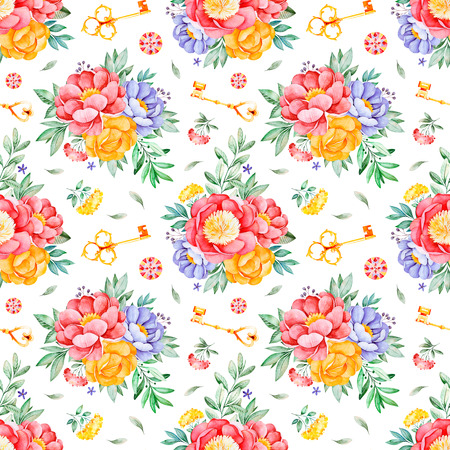 Handpainted watercolor seamless pattern with peonies, flowers, leaves, branch, golden keys and gemstone.Lovely texure.Perfect for your project, wedding, packaging, wallpaper, pattern, cover design etc 스톡 콘텐츠