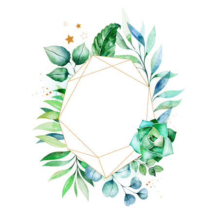 Watercolor Green illustration.Pre-made frame border with palm leaves, branches, berries.Perfect for wedding, quotes, Birthday and invitation cards, greeting cards, print, blogs, bridal cards, logo etc. Stock Illustration - 106078492
