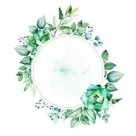 Watercolor Green illustration.Pre-made frame border with succulent plants, palm leaves, branches.Perfect for wedding, quotes, Birthday and invitation cards, greeting cards, print, blogs, bridal cards, logo etc.