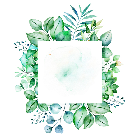 Watercolor Green illustration.Pre-made frame border with succulent plants, palm leaves, branches.Perfect for wedding, quotes, Birthday and invitation cards, greeting cards, print, blogs, bridal cards, logo etc. Stock Illustration - 106078570