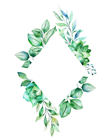 Watercolor Green illustration.Pre-made frame border with succulent plants, palm leaves, branches.Perfect for wedding, quotes, Birthday and invitation cards, greeting cards, print, blogs, bridal cards, logo etc. Stock Illustration - 106078571