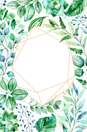 Watercolor Green illustration.Pre-made Greeting card with succulent plants, palm leaves, branches and more.Perfect for wedding, quotes, birthday and invitation cards, print, blogs, bridal cards, logos etc. Stock Illustration - 106078573