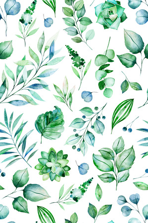 Watercolor Green illustration.Seamless pattern with succulent plants, palm leaves, branches.Perfect for wedding, print and invitation cards, wallpaper, design cover, packaging and more