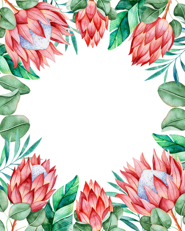 Beautiful card.Pre-made invitation border border with king protea and tropical leaves. Perfect your project, greeting cards, wedding, birthday cards, invitations, logos, bridal cards, blogs etc