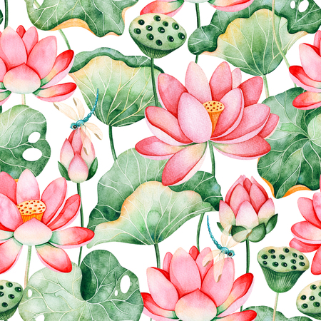 Lotus watercolor texture.Seamless pattern on white background with water lilies and dragonflies.Perfect for your project, wedding, packaging, wallpaper, cover design, packaging, print etc Stock Photo