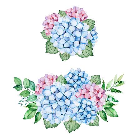 2 schöne Blumensträuße mit blauen und lila Hortensienblumen, Zweigen und Blättern. Aquarellsträuße für Ihr Design. Perfekt für Hochzeit, Einladungen, Blogs, Vorlage, Geburtstag, Babykarten, Gruß, Logos usw. Standard-Bild