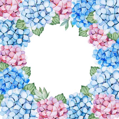 Schöne Rahmenbordüre mit blauen und lila Hortensienblumen und -blättern. Aquarellsträuße für Ihr Design. Perfekt für Hochzeit, Einladungen, Blogs, Vorlage, Geburtstag, Babykarten, Gruß, Logos usw. Standard-Bild
