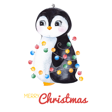Cute watercolor penguin with Christmas garland.Hand painted holiday illustration.Perfect for your Christmas and New Year project, invitations, greeting cards, wallpapers, blogs etc.