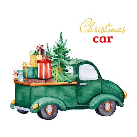 Christmas abstract retro car with Christmas tree, gifts and other decorations.Watercolor holiday illustration.Perfect for your Christmas and New Year project, invitations, greeting cards, wallpapers. Stock Photo