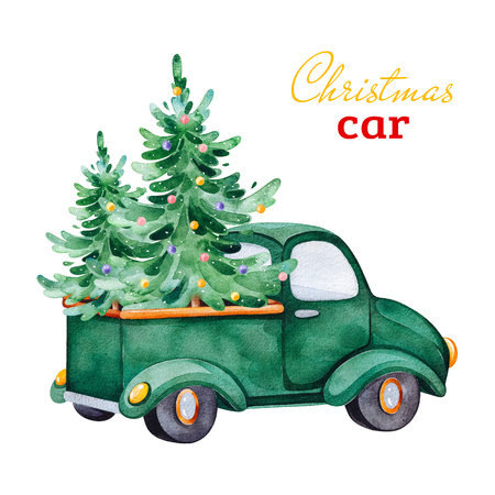 Christmas abstract retro car with Christmas trees and other decorations.Watercolor holiday illustration.Perfect for your Christmas and New Year project, invitations, greeting cards, wallpapers.
