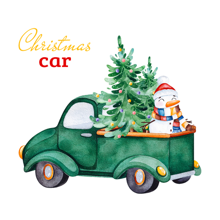 Christmas abstract retro car with Christmas tree, Snowmen and other decorations.Watercolor holiday illustration.Perfect for your Christmas and New Year project, invitations, greeting cards, wallpapers.