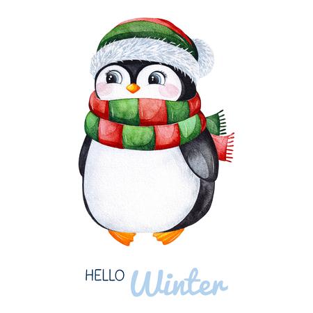 Simpatico pinguino acquerello in abiti invernali lavorati a maglia. Illustrazione di vacanza dipinta a mano. Perfetto per il tuo progetto di Natale e Capodanno, inviti, biglietti di auguri, sfondi, blog ecc.