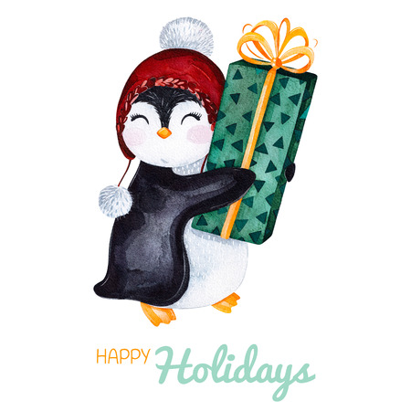 Cute watercolor penguin with Christmas gift.Hand painted holiday illustration.Perfect for your Christmas and New Year project, invitations, greeting cards, wallpapers, blogs etc. Stock Photo