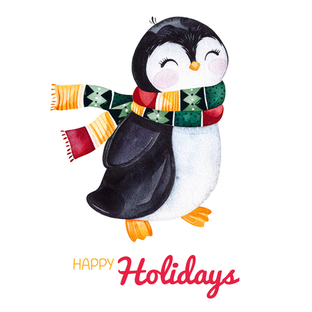 Cute watercolor penguin in winter knitted clothes.Hand painted holiday illustration.Perfect for your Christmas and New Year project, invitations, greeting cards, wallpapers, blogs etc.