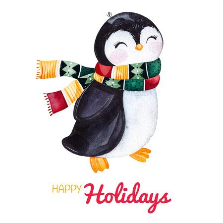 Schattige aquarel pinguïn in winter gebreide kleding. Handgeschilderde vakantie illustratie. Perfect voor uw kerst- en nieuwjaarsproject, uitnodigingen, wenskaarten, wallpapers, blogs enz. Stockfoto