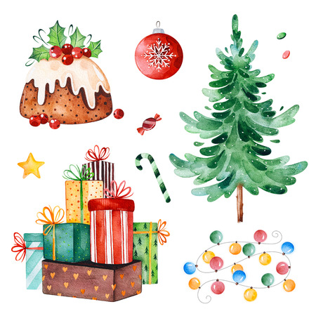 Christmas collection with Christmas tree, candy, garland, gifts and other decorations.Watercolor holiday illustration.Perfect for your Christmas and New Year project, invitations, greeting cards, wallpapers Zdjęcie Seryjne