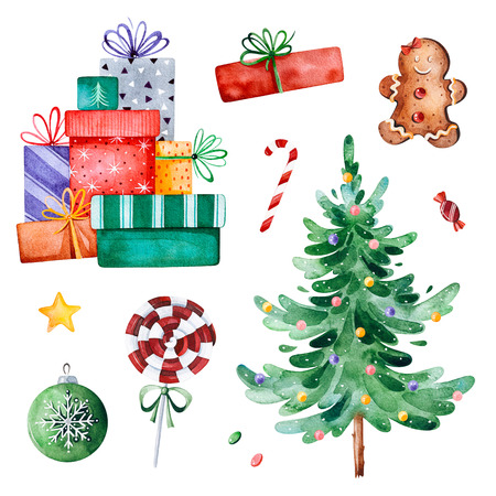 Christmas collection with Christmas tree, candy, gifts and other decorations. Watercolor holiday illustration.Perfect for your Christmas and New Year project, invitations, greeting cards, wallpapers.