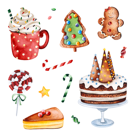 Bright collection with Christmas candy, sweets and cakes.Watercolor holiday illustration.Perfect for your Christmas and New Year project, invitations, greeting cards, wallpapers