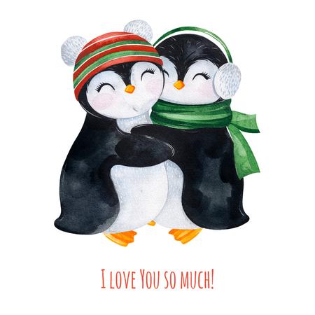 Acuarela linda que abraza pingüinos en ropa de punto de invierno.Ilustración navideña pintada a mano.Perfecto para su proyecto de Navidad y Año Nuevo, invitaciones, tarjetas de felicitación, fondos de pantalla, blogs, etc.