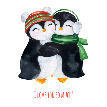 Cute watercolor embracing penguins in winter knitted clothes.Hand painted holiday illustration.Perfect for your Christmas and New Year project, invitations, greeting cards, wallpapers, blogs etc. Stock Photo