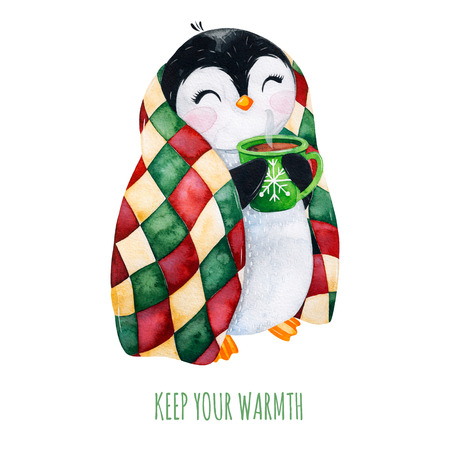 Cute watercolor penguin with a cup of hot drink in winter knitted plaid.Hand painted holiday illustration.Perfect for your Christmas and New Year project, invitations, greeting cards, wallpapers, blog etc Stock Photo