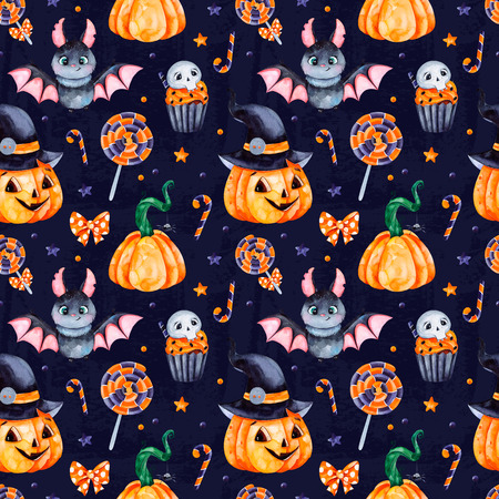 Cute watercolor Halloween seamless pattern. Dark Background with pumpkins, candy, muffin, bat, skull and bow.Perfect for wallpaper, print, stationery, scrapbooking, stickers, party decorations.