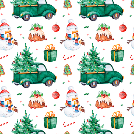 Bright seamless pattern with Christmas tree, candy, truck, gift, snowman and more.Watercolor holiday texture.Perfect for your Christmas and New Year project, invitations, greeting cards, wallpapers, print etc Archivio Fotografico - 118653069