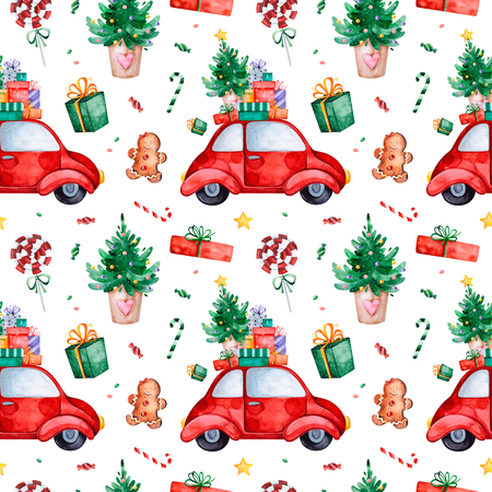 Bright seamless pattern with Christmas tree, candy, red retro car, gift and more.Watercolor holiday texture.Perfect for your Christmas and New Year project, invitations, greeting cards, wallpapers, print etc Archivio Fotografico - 118653080