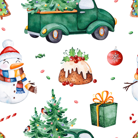 Bright seamless pattern with Christmas tree, candy, truck, gift, snowman and more.Watercolor holiday texture.Perfect for your Christmas and New Year project, invitations, greeting cards, wallpapers, print etc Stock Photo