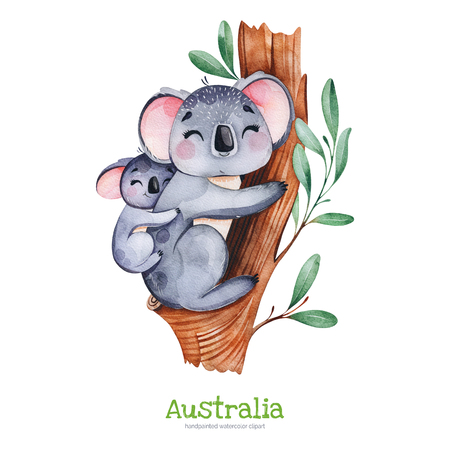 Australia watercolor set.Cute koala with baby on eucalyptus tree.Watercolor animals.Perfect for wallpaper, print, packaging, invitations, baby shower, patterns, travel, logos etc. Standard-Bild - 118653083