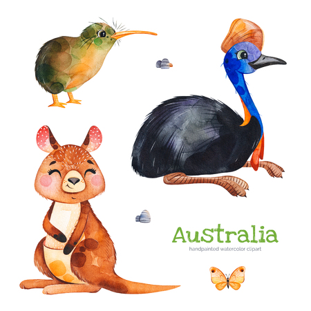 Australia watercolor set.Cute collection with cassowary, kiwi bird, kangaroo, butterfly, stones.Watercolor cute animals.Perfect for wallpaper, print, packaging, invitations, baby shower, patterns, tra 스톡 콘텐츠