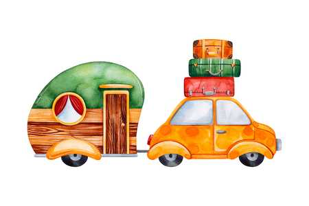 Travel watercolor set with caravan camping and yellow car.Perfect for wallpaper, print, packaging, invitations, baby shower, patterns, travel, logos. Stock fotó