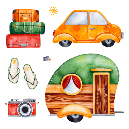 Travel watercolor set with suitcases, yellow car, caravan, camera, flip flops.Perfect for wallpaper, print, packaging, invitations, baby shower, patterns, travel, logos. Stock fotó