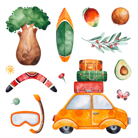 Australia watercolor set with tree, mango, coconut, boomerang, snorkel mask, avocado, serfboard, butterfly, eucalyptus.Perfect for wallpaper, print, packaging, invitations, baby shower, patterns, travel, logos.