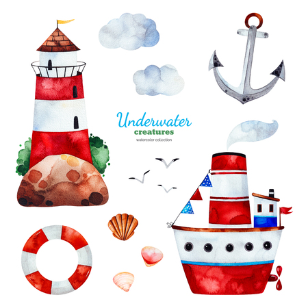Underwater creatures.Watercolor set with anchor, lighthouse, ship, seagulls and clouds.Perfect for invitations, party decorations, printable, craft project, greeting cards, blogs, baby shower and much more Imagens