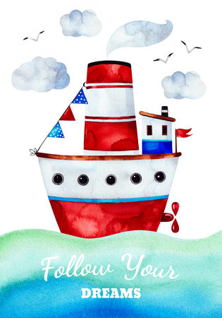 Underwater creatures.Pre-made greeting card with ship, seagulls and clouds.Perfect for invitations, party, printable, craft project, greeting cards, baby shower and much more.