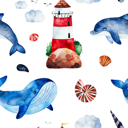 Underwater creatures.Watercolor seamless pattern with whale, dolphinseashells, lighthouse and more.Perfect for wallpaper, print, packaging, invitations, packaging, cover design, travel. Stock Photo