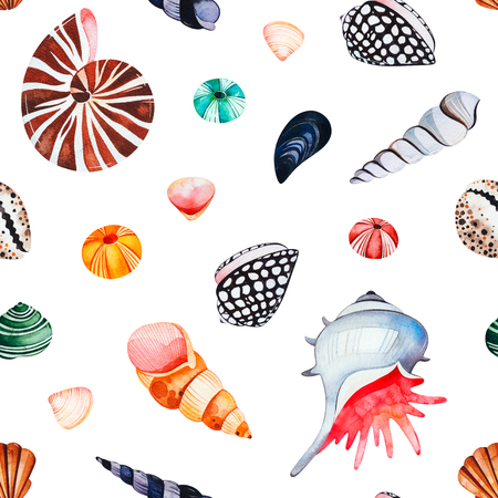 Underwater creatures.Watercolor seamless pattern with multicolored seashells.Perfect for wallpaper, print, packaging, invitations, packaging, cover design, travel